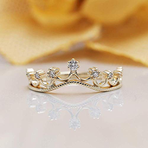 Royal Unique crown wedding rings His and hers crown rings 14k Yellow Gold Finish