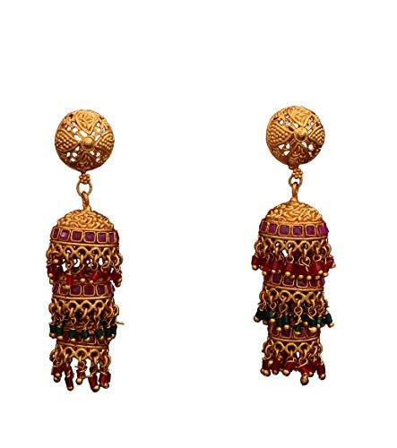 JewelryGift Modish Jhumki - Pendientes colgantes chapados en oro para hermana y esposa ME 156-M-ROD-VERDE