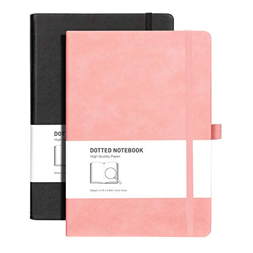 RETTACY Dotted Bullet Grid Journal 2 Pack - Dot Grid Hard Cover Notebook with 320 Pages,120gsm Thick Paper,8 Perforated Sheets,Smooth PU Leather,Inner Pocket,''5.75 × 8.38'' (Black Pink)