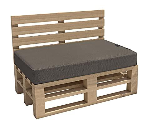 cojines para palets cojines para jardín impermeable Interior Exterior funda desenfundable asiento respaldo Sofá palets Sofá de patio (Asiento 120x60x15, Gris)
