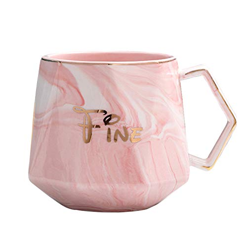 Marbling Ceramic Coffee Mug  Tea Cup for Office and Home 13 Oz Dishwahser and Microwave Safe pink
