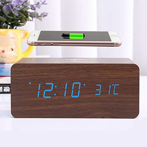 C-qing Bluetooth Wooden Speaker Alarm Clock Portable Digital Stereo Home Office Bedroom Travel LED Display Wireless USB Battery Powered Time Date Temperature 24 HR Audio System Best Gift Idea,D