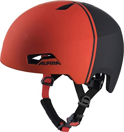 ALPINA Unisex - Kinder, HACKNEY Fahrradhelm, black-red matt, 51-56 cm