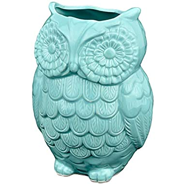 MyGift Aqua Blue Owl Design Ceramic Cooking Utensil Holder / Multipurpose Kitchen Storage Crock