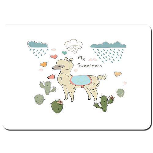 YANAIX Alfombra de Baño,Resumen Alpaca en la Lluvia con Cactus Pinceladas Efecto...