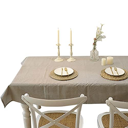 Yadaln Manteles Impermeable Color Sólido Rectángulo Efecto Lino Cubierta De Mesa Moderno para Decoración De La Mesa De Comedor(Size:135 * 240cm/53 * 94in,Color:A)