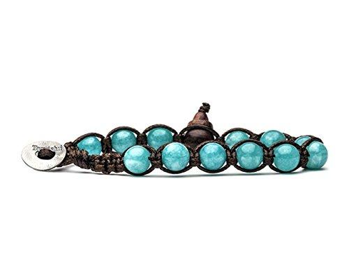 Tamashii - Original tibetisches Armband mit wassergrünen Jade-Natursteinen