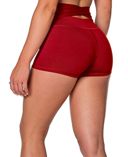 Kamo Fitness High Waist Athletic Yoga Shorts Tummy Control Workout Running (Red, XL)