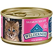 Blue Buffalo Wilderness High Protein Grain Free, Natural Kitten Pate Wet Cat Food, Salmon 85g cans (Pack of 24) - 3 oz (Pack of 24)