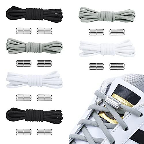 无品牌 6 Paar Flache Elastische Schnürsenkel, Schleifenlose Schnürsenkel mit Metall Schnellverschluss-ohne Binden, Magnetschnürrsenkel mit Metall Schnalle Passend für Kinder und Erwachsene