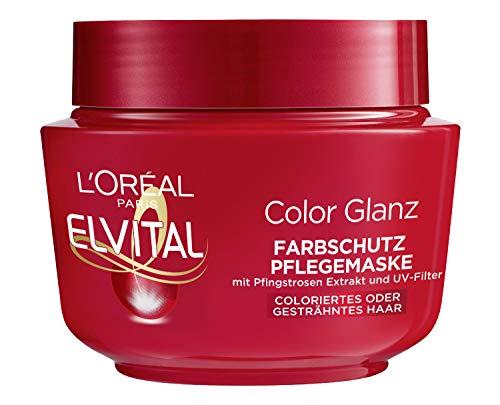 L\'Oréal Paris Elvital Haarkur für längeren Farbglanz, Für coloriertes, getöntes oder gesträhntes Haar, Intensivkur mit Pfingstrosen Extrakt und UV-Filter, Color Glanz Farbschutz Pflegemaske, 1 x 300ml