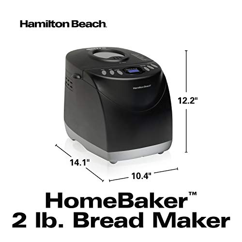 Hamilton Beach 2 lb Digital, Programmable, 12 Settings + Gluten Free, Dishwasher Safe Pan + 2 Kneading Paddles, Black (29882)