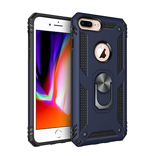 BestST Funda iPhone 6/7/ 8 Plus con Anillo Soporte, con HD Protector de Pantalla, Robusta Carcasa Híbrida TPU + PC de Doble Capa Anti-arañazos Caso para Apple iPhone 6/7/ 8 Plus,-Azul