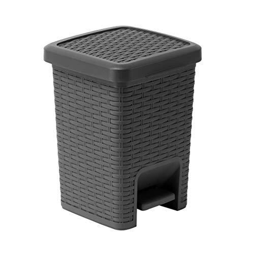 Addis 518144 Rattan Effect Square Bathroom Pedal Waste Trash Bin, 6 Litre, Charcoal