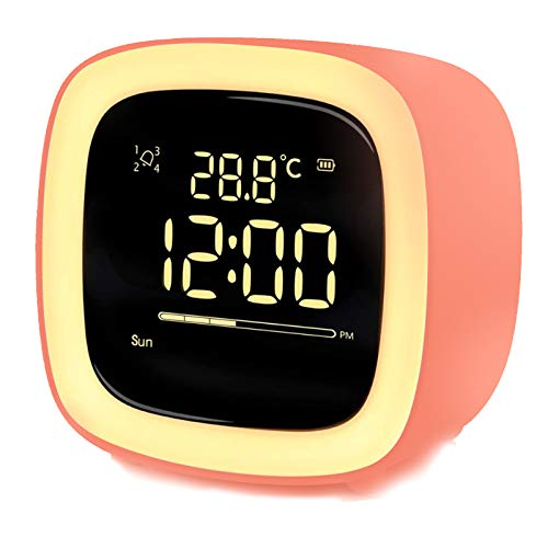 Kinder Lichtwecker, Wake up Light Lichtwecker Digital, LED Wecker & Nachtlicht Lampe, Kinderwecker mit Countdown Temperatur Schlummer Timer 4 Alarmen, USB-Aufladung(Orange)