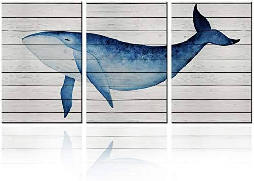 Wall Art Deep Sea Animal Simple Life Paintings Wall Decor Blue Whale 3 Pieces Framed Canvas product image