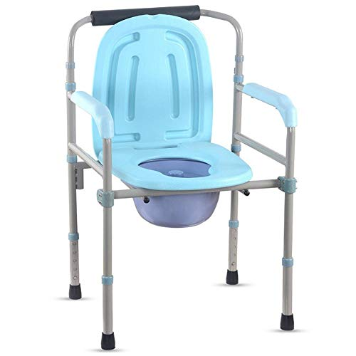 ZXY-NAN Bathroom Wheelchairs Folding Seat Aluminum Alloy 5 Level Height Adjustable Folding Commode Chair Shower Stool Toilet Aid Seat Raiser for The Elderly/Pregnant Women/People With Disabilities/Phy