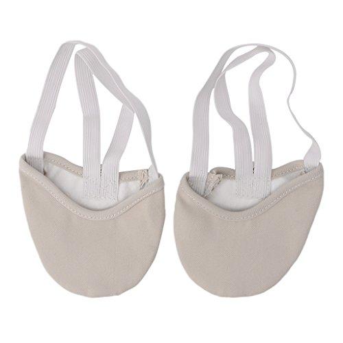 Keahup Kofun par de Zapatos de Baile, Media Suela de Piel sintética, Zapatillas de Ballet Puntiagudas para Gimnasia rítmica, Beige, Medium