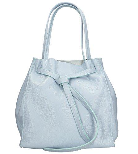 Freyday Damen Echtleder Shopper mit Innentasche in vielen Farben Schultertasche Henkeltasche (Hellblau)