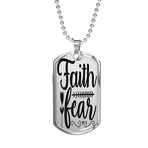 Faith – Collar de miedo cristiano, DogTag de acero inoxidable o acabado en oro de 18 quilates, 60,96 cm B