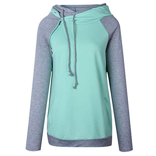 Pullover Damen Hoodie Oberteile Sweatshirt Patchwork Pulli Sweatjacke Kapuzenpullover mit Kordel und Rollkragen