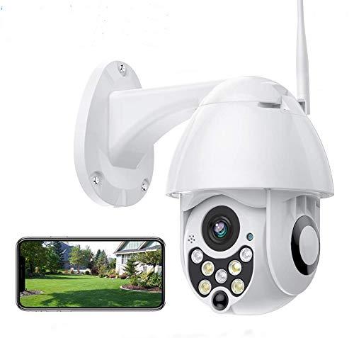 Cámara de Vigilancia WiFi Exterior 1080P IP65 Impermeable con Visión Nocturna, Detección de Movimiento Alarma, Audio Bidireccional Compatible con Tarjeta SD máxima de 128G/ONVIF/Android/IOS