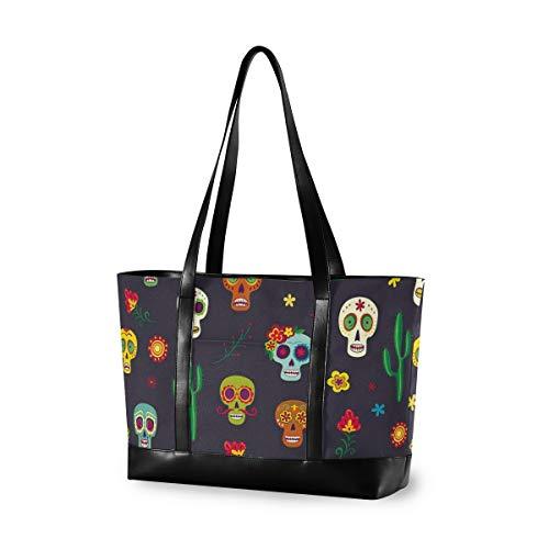 XiangHeFu Einkaufstasche Buntes Muster Mexikanische Zuckerschädel Mode Casual Travel Computer Handtasche mit großer Kapazität
