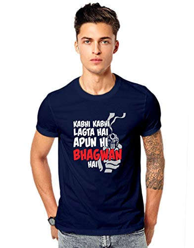Promojo Crafter Men's Cotton Kabhi Lagta Apun He Bhagwan Hai Web Series Sacred Games T-Shirt (Navy-Blue, X-Large)