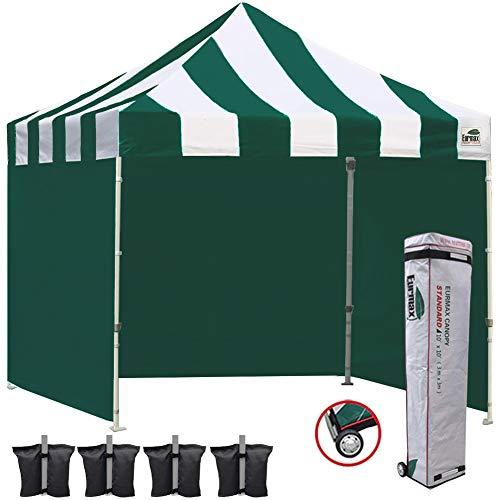 Eurmax 10x10 Ez Pop Outdoor Instant Canopies with 4 Zipper Sidewalls and Roller Bonus 4 Weight Bags, 1, S Green