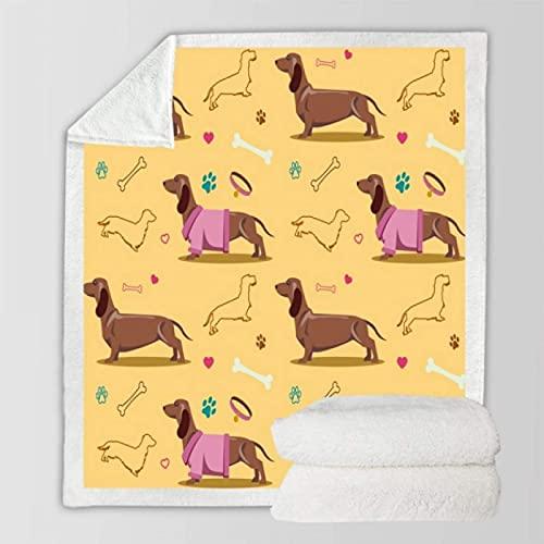 Manta de perro de perro con dibujos animados, manta de felpa de sherpa, manta cálida, colcha fina para oficina, viaje, 150 x 200 cm
