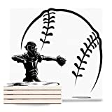 Absorbent Ceramic Coasters for Drinks Glove White Softball Baseball Catcher at Plate Ball Black Square Coasters with Cork Base, Non-Slip Cup Place Mats for Home Decor Set of 4