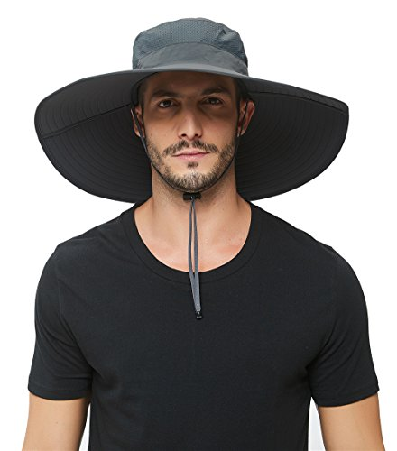 Super Wide Brim Sun Hat-UPF 50+ Protection,Waterproof Bucket Hat for Fishing, Hiking, Camping, Boating,Breathable Nylon & Mesh (Dark Grey)