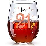 Copa de Vino de 21 Cumpleaños Copa de Vino Rosa Oro de Im 21 Bitches Regalo de Cumpleaños Divertido para Suministros de Decoración de Fiesta Cumpleaños de 21 Años para Niñas, 17 oz sin Tallo