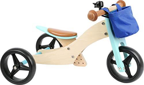 small foot 11610 2 en 1 en Bois Turquoise, Tricycle et draisienne, avec siège réglable et pneus en...