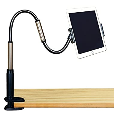 GEEPIN Clamp Mount Tablet Stand for iPad and iPhone, 3.3 Ft Tall Adjustable Arm 360° Rotating Aluminum Gooseneck Swivel Universal Lazy Holder for Bed or Office.
