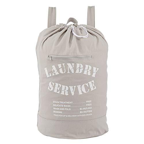 mDesign Wäscherucksack – praktischer Wäschesack mit stabilen Trägern – faltbarer Wäschesammler aus Baumwolle mit modernem Aufdruck – grau/weiß