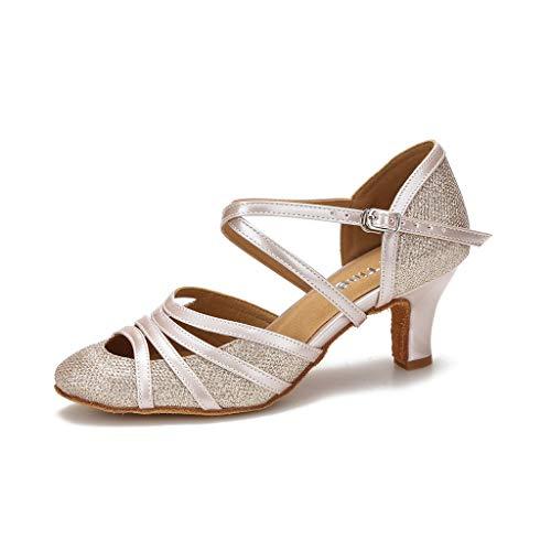 YYTing Closed Toe Ballroom Dance Shoes Women Latin Salsa Social Wedding Indoor Dancing Shoes 2.5in 1.5in Heels YT09(6.5 Nude)