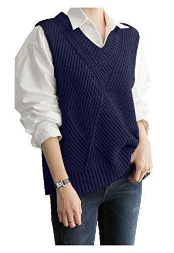 CYSTYLE Damen Weste Strick Pullunder V-Ausschnitt Strickweste Vest mit Strick Feinstrick für Business und Freizeit (Blau, M)