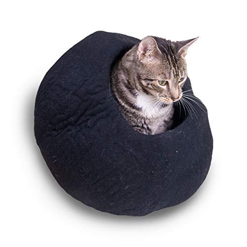 Pet Infinity Katzenhöhle Cozy Bett, Exklusive gefilzter Wolle, Schwarz