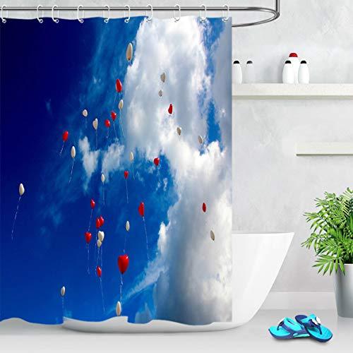zhanghui2018 Blauer Himmel, weiße Wolken roter weißer Ballon-Stoff formbeständiger Badanhänger kreativ mit 12 Haken 180X180CM