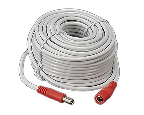 Power Extension 60ft Cable5.5mm x 2.1mm 12 Volt Male to Female Plug Cord for CCTV IP Security Cameras DVRs and More Devices White
