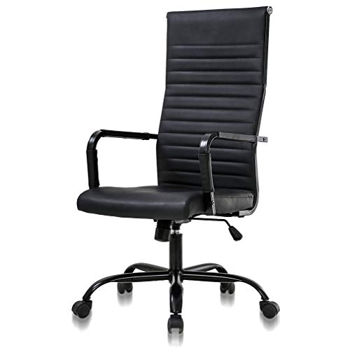 Simple Home Office Chair Ergonomic Desk Chair Leather Computer Chair with Lumbar Support Arms High Back Chair, Chic Modern Desk Executive Task PC Chair, Adjustable Best Home Office Chair - Black