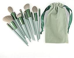 メイクブラシ 13本セット グリーン化粧筆 厳選した極細毛をたっぷり使用 フェイスブラシ 高級タクロン 敏感肌適用 収納ポーチ付き 初心者 メークアップツール 美容ツール