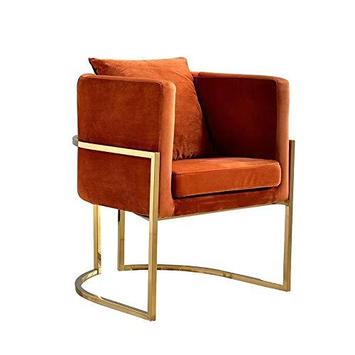 DWWSP Haus Dekoration Moderner Edelstahl Relax Chair Hotelstuhl for Wohnmöbel (Color : Orange)