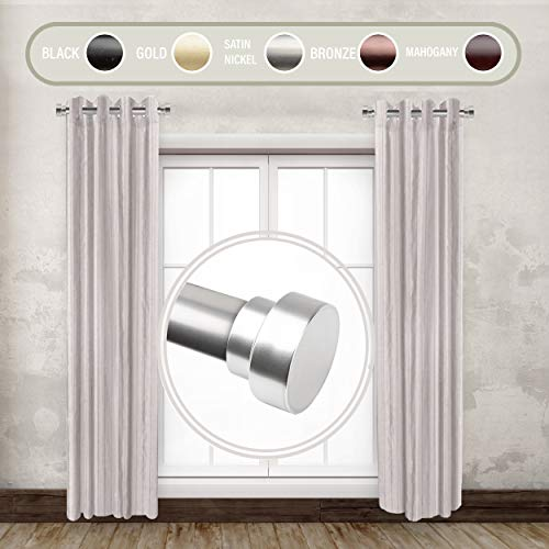 "Rod Desyne SIDE100-5 1"" Side Curtain Rod, 12-20 inch (Set of 2), Satin Nickel"
