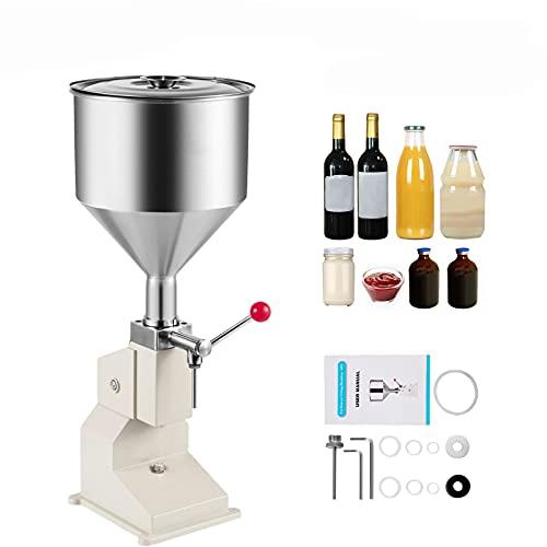 LXW Relleno de líquido de Pasta Manual neumática, máquina de llenado de Crema Ajustable, máquina de Relleno de Botella de máquina 5-110ml Máquina de llenado de Botellas, Acero Inoxidable