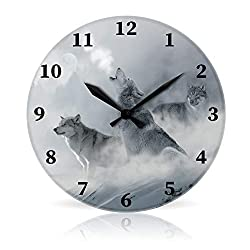 The Full Color Company 3 Wolf Moon 10.75 Round Acrylic Wall Clock