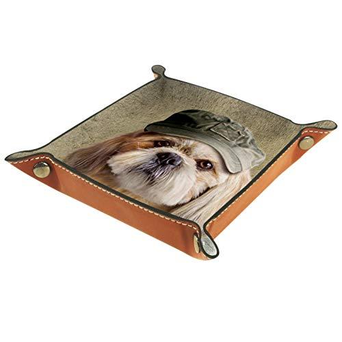 Caja de almacenamiento pequeña, bandeja de valet para hombre,Perro vestido ,Organizador de cuero para llaves de caja de monedas