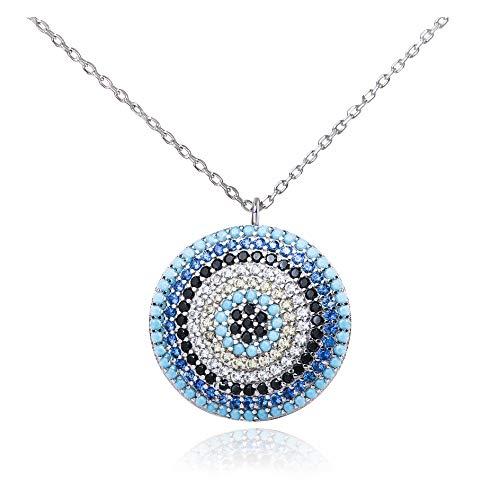 Plata de Ley redondo circonita ojo colgante Neckace amuleto ojo de turco gargantilla collar
