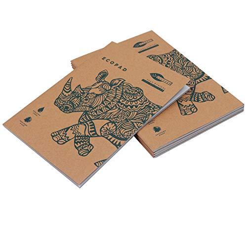 Quaderni Carta Riciclata (5 Pz) - A4 Quaderno Appunti Pagine Bianche per Scuola e Ufficio - Quaderno Fogli Bianchi con Copertina Marrone per Viaggi - Quaderno A4 Ecologico (60 GSM, 80 Pagine)